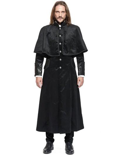 Pentagramme Black Retro Gothic Long Velvet Cape Coat for Men