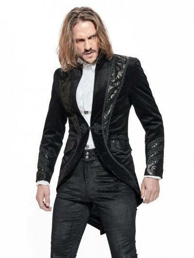 Pentagramme Black Gothic Vintage Velvet Party Tailcoat for Men