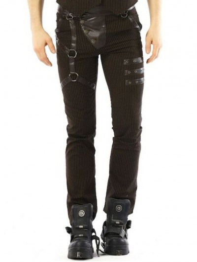 Pentagramme Coffee Gothic Steampunk Striped Long Pants for Men