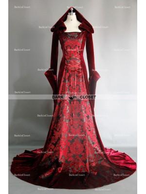 Red Velvet Gothic Vampire Hooded Medieval Dress
