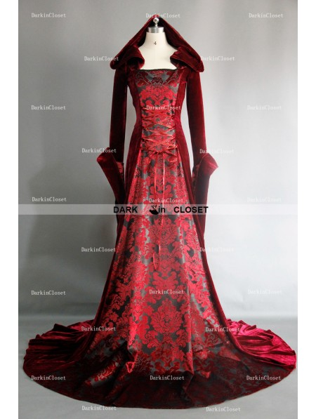 Red Velvet Gothic Vampire Hooded Meval Dress