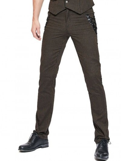 Pentagramme Brown Striped Steampunk Long Slim Pants for Men