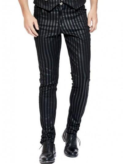 Pentagramme Black Steampunk Style Striped Trousers for Men
