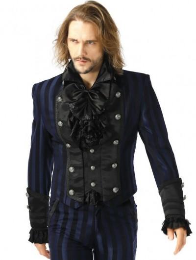 Pentagramme Blue Retro Gothic Striped Short Party Jacket for Men