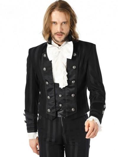Pentagramme Black Retro Gothic Striped Short Party Jacket for Men