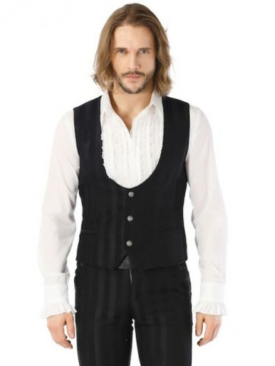 Pentagramme Black Gothic Military Style Striped Waistcoat For Men