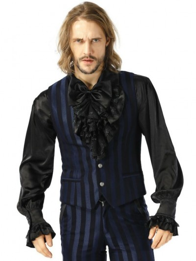 Pentagramme Blue Gothic Military Style Striped Waistcoat For Men