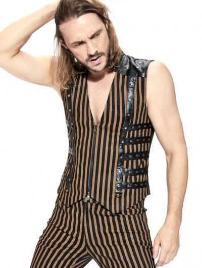 Pentagramme Coffee Striped Steampunk Zipper Vest Top For Men