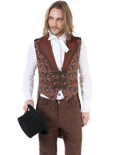 Pentagramme Dark Red Retro Gothic Noble Jacquard Swallow Tail Vest For Men