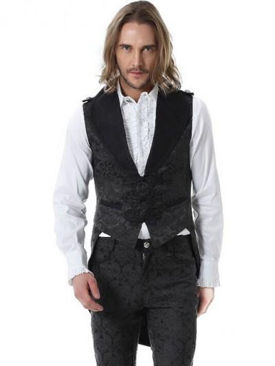 Pentagramme Black Retro Gothic Noble Jacquard Swallow Tail Vest For Men
