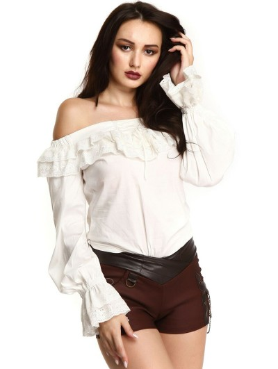 Pentagramme White Steampunk Off-the-Shoulder Long Sleeve Blouse for Women