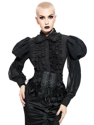 Pentagramme Black Gothic Retro Long Puffy Sleeve Shirt for Women