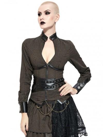 Pentagramme Brown Stripe Steampunk Sexy Shirt for Women