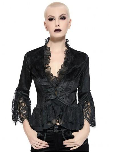 Pentagramme Black Retro Gothic Short Velvet Jacket for Women