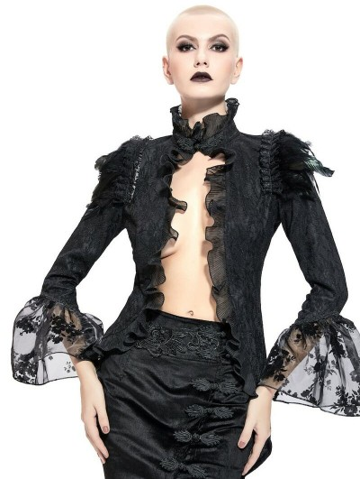 Pentagramme Black Gothic Sexy Feathered Lace Jacket for Women