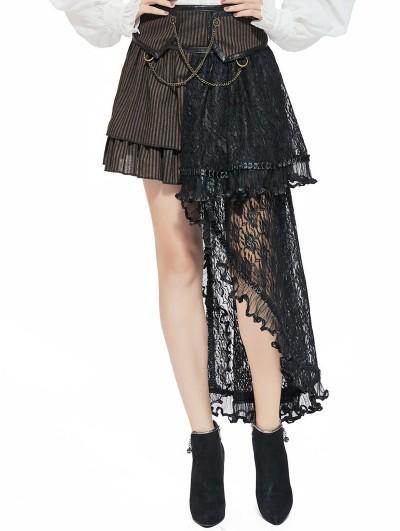 Pentagramme Brown Steampunk Striped Lace Asymmetrical Skirt