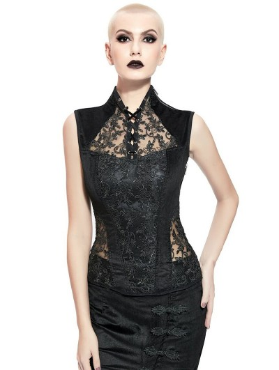 Pentagramme Black Sexy Gothic Lace Sleeveless Top for Women
