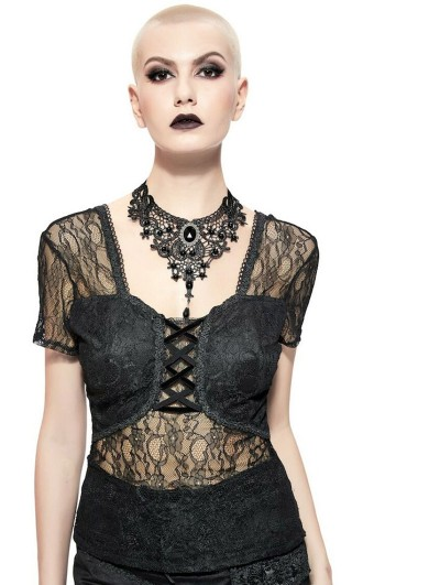 Pentagramme Black Gothic Sexy Lace Short Sleeve Shirt for Women