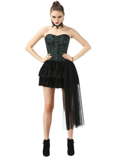 Pentagramme Green and Black Gothic Strapless Corset Style Short Party Dress