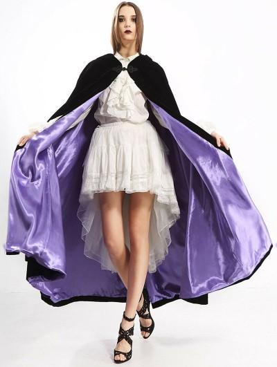 Pentagramme Black and Purple Long Gothic Velvet Hooded Long Cape For Women