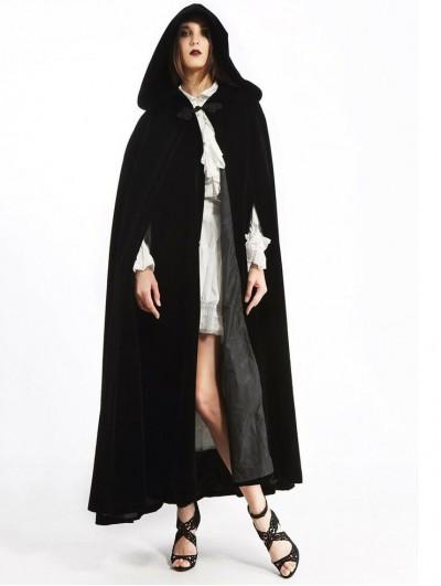 Pentagramme Black Long Gothic Velvet Hooded Long Cape For Women