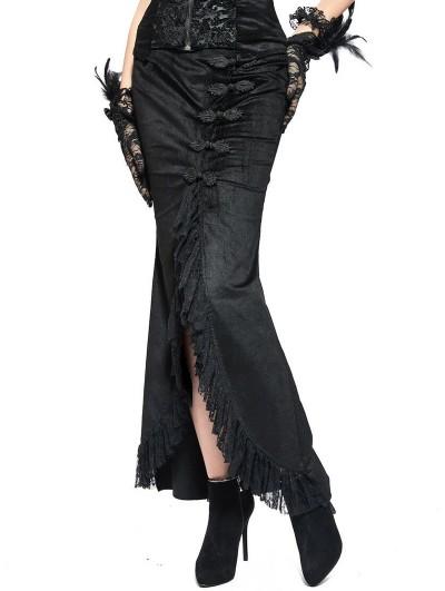 Pentagramme Black Gothic Sexy Velvet Fishtail Long Skirt