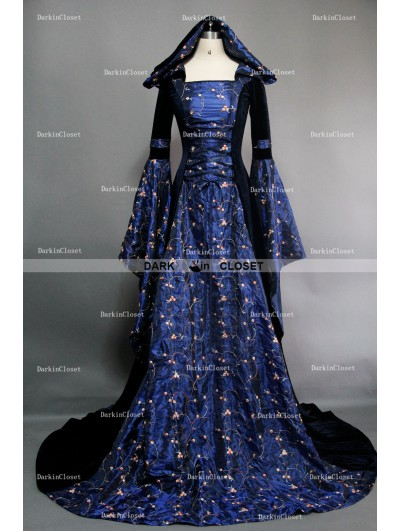 Fancy Blue Velvet Hooded Medieval Gown