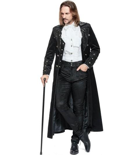 Pentagramme Black Retro Gothic Long Velvet Coat for Men