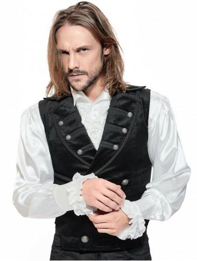 Pentagramme Black Retro Gothic Velvet Waistcoat for Men