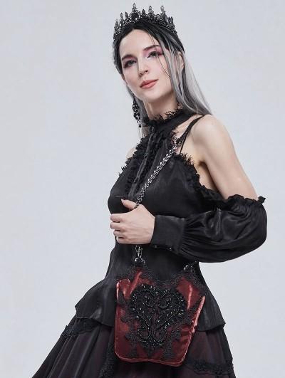 Devil Fashion Red Romantic Gothic Lace Double Chain Shoulder Bag