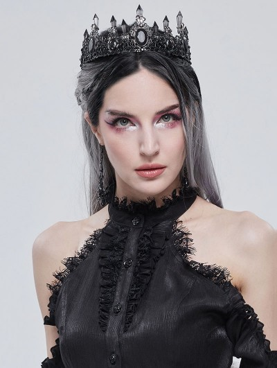 Devil Fashion Black Gothic Retro Dark Queen Style Crown Headdress