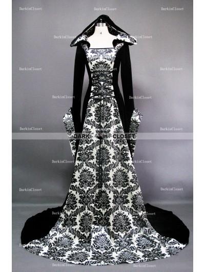 White and Black Velvet Gothic Hooded Medieval Dress