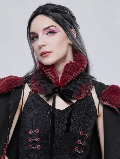 Devil Fashion Black and Red Gothic Faux Fur Warm Collar for Women