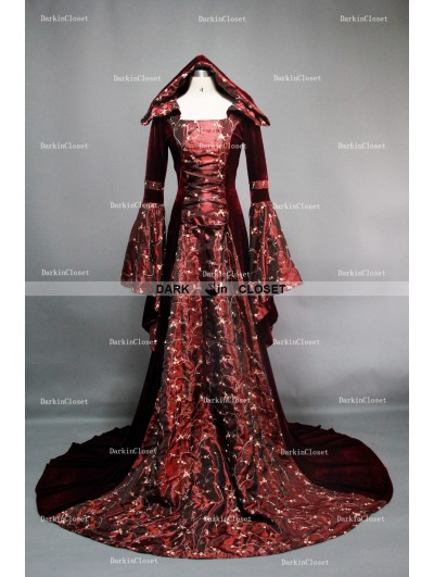 Fancy Velvet Hooded Medieval Gown