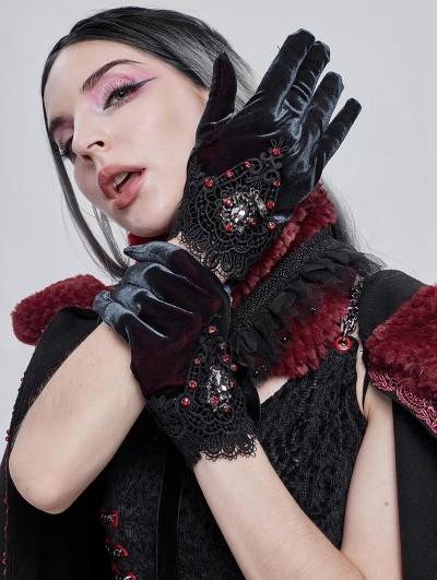 Devil Fashion Retro Gothic Elegant Velvet Lace Gloves for Women