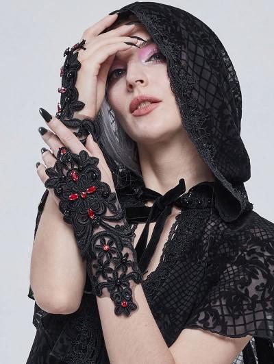 Devil Fashion Black Romantic Gothic Lace Gloves for Women