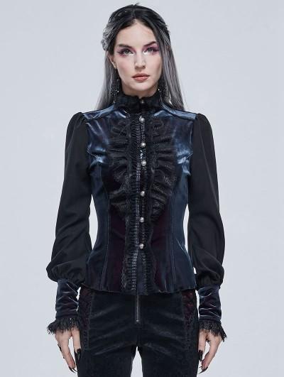 Devil Fashion Blue Retro Gothic Velvet Long Sleeve Blouse for Women