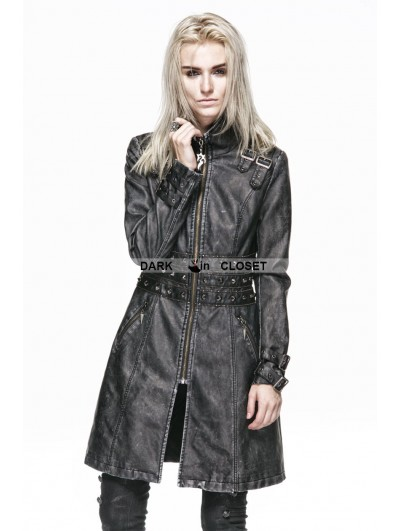 Punk Rave Gray Leather Gothic Punk Long Coat for Women