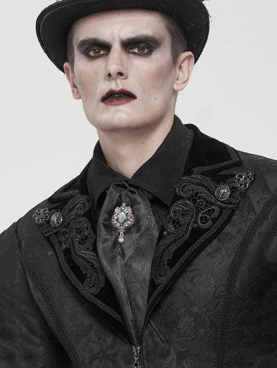 Devil Fashion Black Gothic Vintage Jacquard Long Scarf for Men