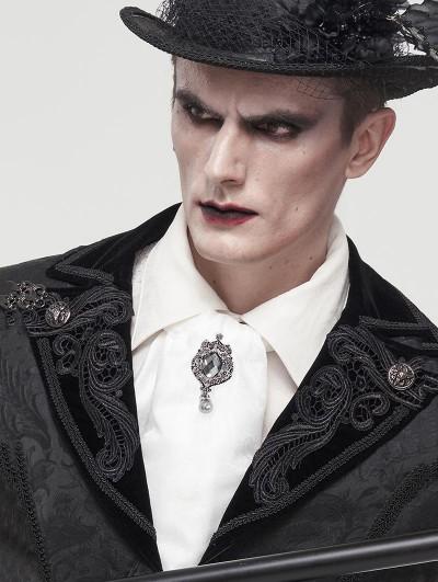 Devil Fashion White Gothic Vintage Jacquard Long Scarf for Men