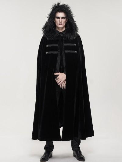 Devil Fashion Black Gothic Winter Warm Long Hooded Faux Fur Cloak for Men