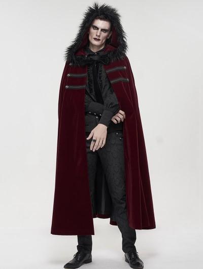Devil Fashion Red Gothic Winter Warm Long Hooded Faux Fur Cloak for Men
