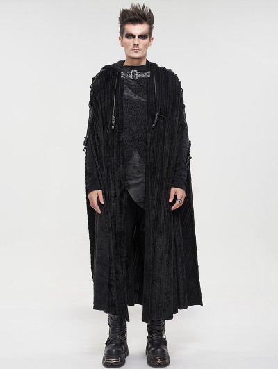Devil Fashion Black Gothic Punk Long Hooded Cape for Men