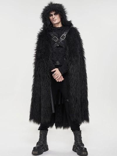 Devil Fashion Black Gothic Punk Winter Warm Faux Fur Long Hooded Cape for Men