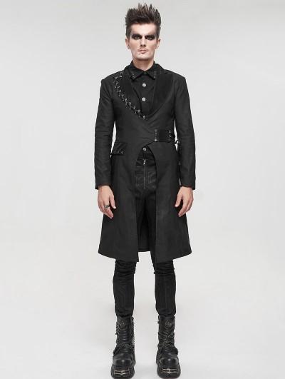 Devil Fashion Black Gothic Punk Mid-Length Coat for Men