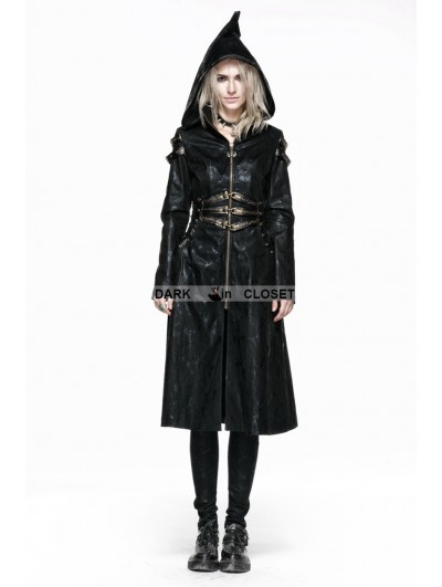 Punk Rave Black Leather Witch Style Gothic Coat for Women