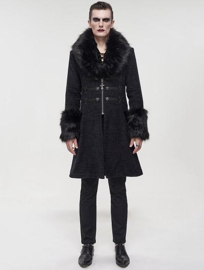Devil Fashion Black Vintage Gothic Faux Fur Mid Length Winter Warm Coat for Men