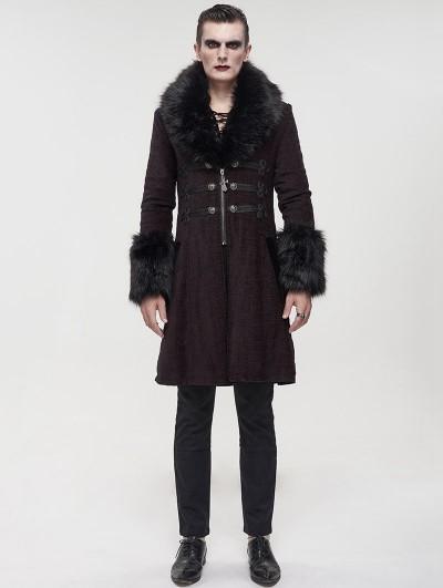 Devil Fashion Red Vintage Gothic Faux Fur Mid Length Winter Warm Coat for Men