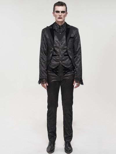 Devil Fashion Black Vintage Gothic Faux Two Pieces Party Swallow Tail Coat for Men