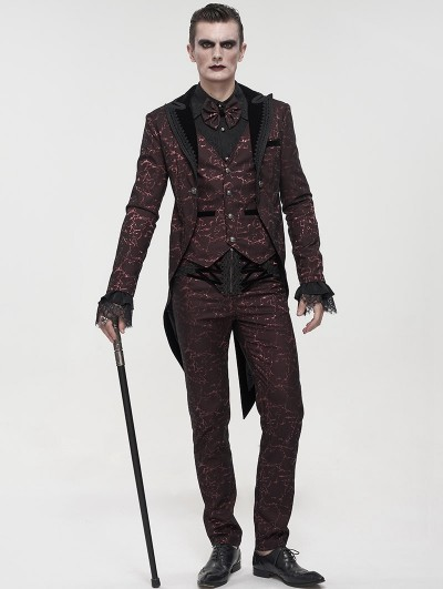 Devil Fashion Red Vintage Gothic Faux Two Pieces Party Swallow Tail Coat for Men